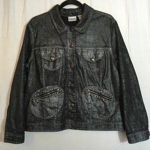 Chico's Metallic Silver Black Cotton Denim Jacket